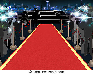 Red carpet, photographers, driver and a luxury car 1