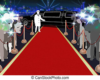 Red carpet, photographers, driver and a luxury car 2