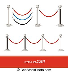 Red Carpet Silver Barrier Constructor. Vector