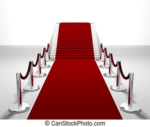 Red carpet - 3D render of a red carpet leading up stairs