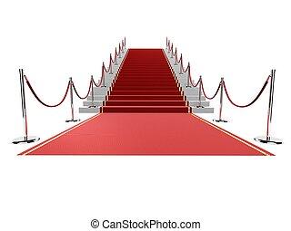 red carpet - 3d rendered illustration of a red carpet on...