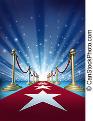 Red carpet to the movie stars with an entertainment theater design background with gold roped barriers and radiating spot lights with shiny sparkles as a symbol of an important event with cinematic and theatrical fun.