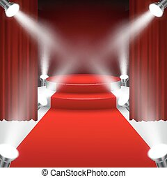 Red carpet to podium stage with spo