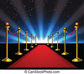 Red carpet with gold stanchions to the stars