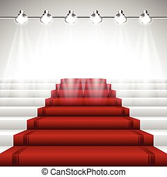 Red Carpet under Spotlights