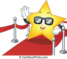 Red Carpet - Illustration of a Star Mascot Wearing Dark...