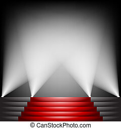 Red carpet and stairs with spotlight up