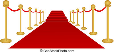 Vector illustration of a red carpet leading up a staircase.