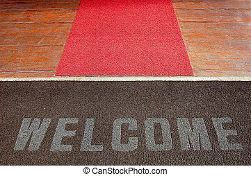 Red carpet welcome - Welcome sign on a hotel entrance path