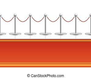 Red carpet with barrier rope seamless background