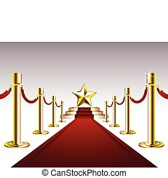 Red Carpet with Golden Star - Vector illustration of...