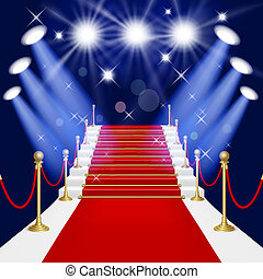Red carpet with ladder - Red carpet with spotlight. Mesh. ...