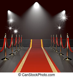 Red carpet with red ropes on golden stanchions. Exclusive...