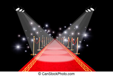 Red carpet with spotlight and flash