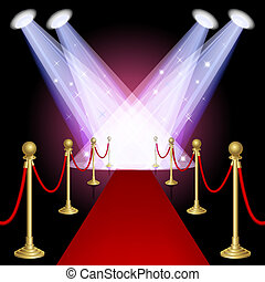 Red carpet with spotlight. Mesh. This file contains transparency.