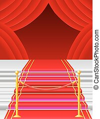 red carpet with turnstile vector illustration
