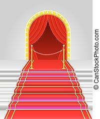 red carpet with turnstile vector illustration