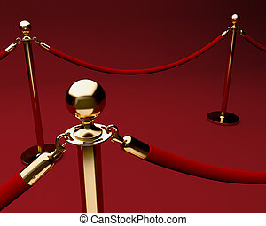 Red carpet with velvet rope and stanchions. - Red carpet...