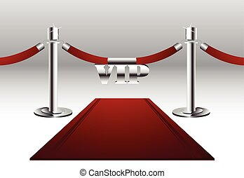 Red carpet with VIP sign hanging on barrier rope with silver poles.