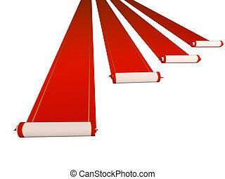 Red carpets  - Conceptual 3d image - four red carpets