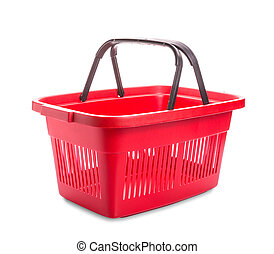 Red cart - Red plastic basket for shopping. Isolated over ...