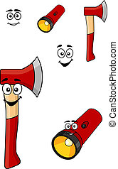 Red cartoon axe and torch flashlight