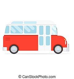 Red cartoon bus