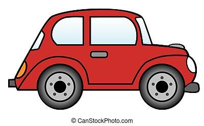 A red cartoon car is ready to roll