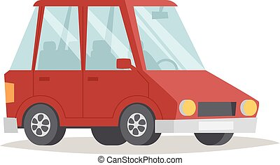 Red cartoon car design flat vector illustration - Cartoon...