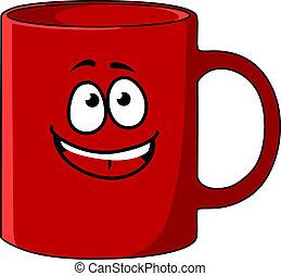 Red cartoon coffee mug with a happy face