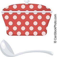 Red Cartoon cooking pan on a white background. Vector illustration