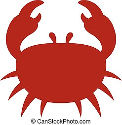 Red cartoon crab icon with a silhouette of a marine crab...