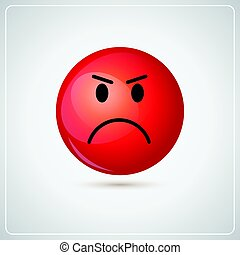 Red Cartoon Face Angry People Emotion Icon Flat Vector...