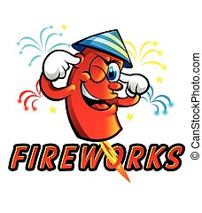 Red Cartoon fireworks