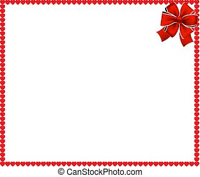 Red cartoon hearts frame with festive ribbon