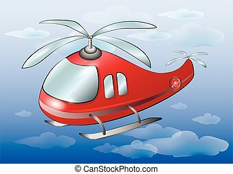 Red cartoon helicopter in sky. Vector illustration