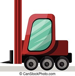 red cartoon lift truck vector illustration on white background.