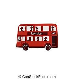 Red cartoon London, English double-decker bus