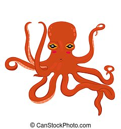 Red cartoon octopus isolated on a white background.