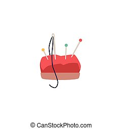 Red cartoon pin cushion with colorful pins and sewing needle with thread - hand craft equipment element isolated on white background - flat vector illustration.