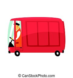 Red cartoon retro cargo van, commercial transport vector Illustration