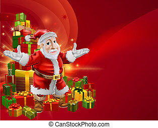 Red cartoon Santa Background