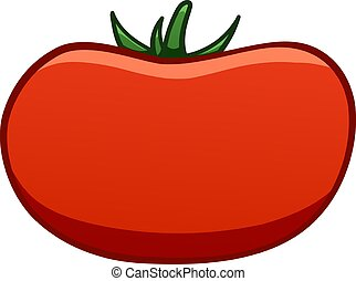 Red cartoon style tomato on white background