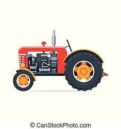 Red cartoon tractor