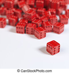Red Casino Cubes on white surface