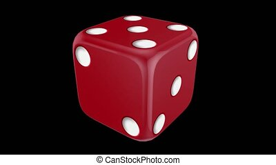 Red casino dice spinning - Red dice spinning on a black...