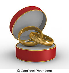 Red casket with two wedding rings. Isolated 3D image