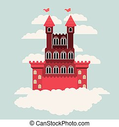 red castle of fairy tales in sky surrounded by clouds in colorful silhouette