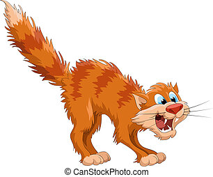 Afraid red cat on a white background, vector