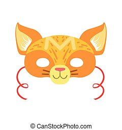 Red Cat Animal Head Mask, Kids Carnival Disguise Costume Element. Children Masquerade Party Paper Mask Colorful Cartoon Vector Illustration.